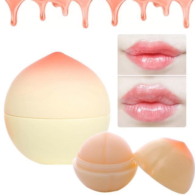 Nette Pfirsich Form Feuchtigkeitscreme Nahrhaft Lip Balm Lange Anhaltende Lippen Pflege Kiwi Geschmack Organischen Kugel Make-Up Werkzeuge Lippenstift Blam