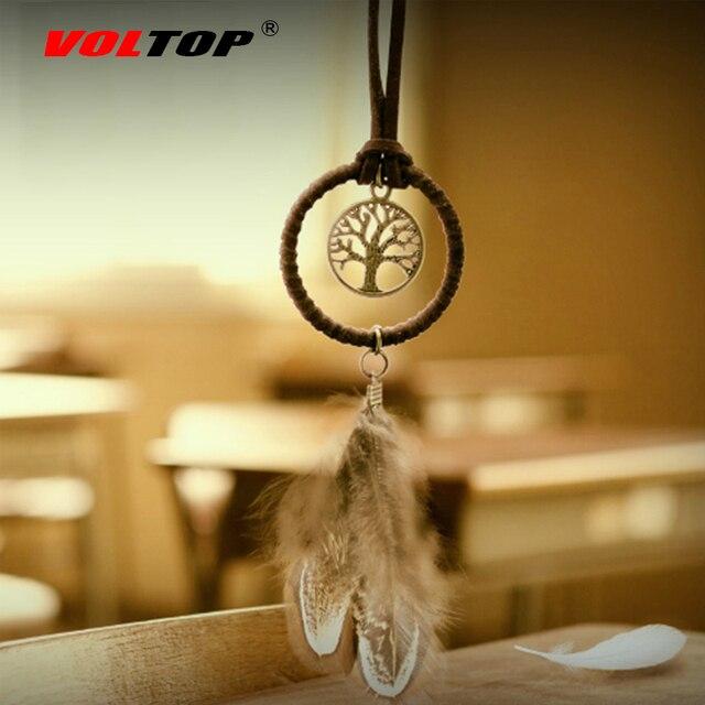 לוכד חלומות רכב קישוטי תליית אביזרי תליון מפתח טבעת לתפוס חלום נטו מפתח שרשרת רטרו הרי נוצה