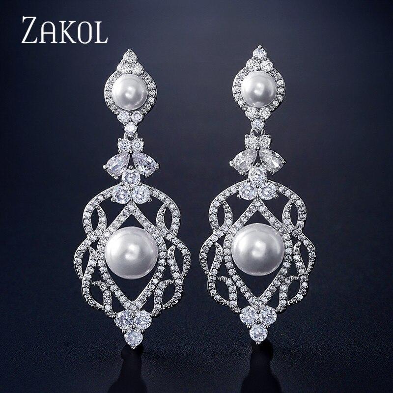 Longos para o Casamento Zakol Luxo Grande Flor Zircônia Cristal Gota Brincos Feminino Pérola Jóias Fsep2331 Oco