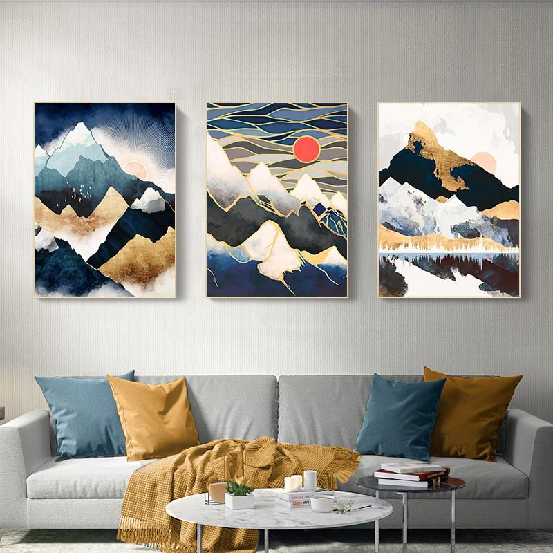 Настенный постер Sunrise Mountain, Современное абстрактное украшение на холсте, с принтом пейзажа, Кита, украшение для гостиной