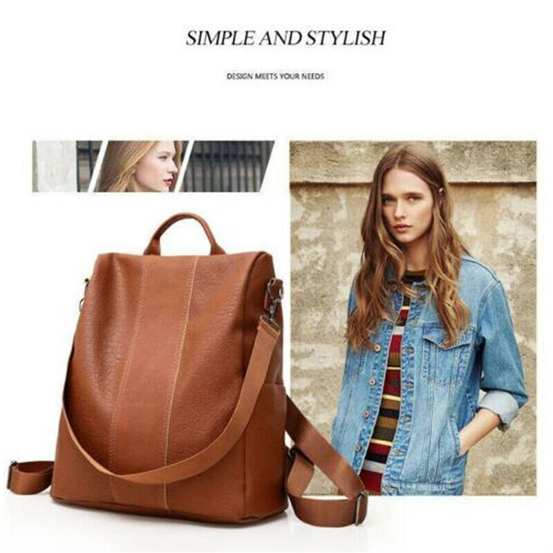 Women's PU Leather Backpack School Bag Anti-Theft Backpack Rucksack  Shoulder Bags Black Brown  /BY