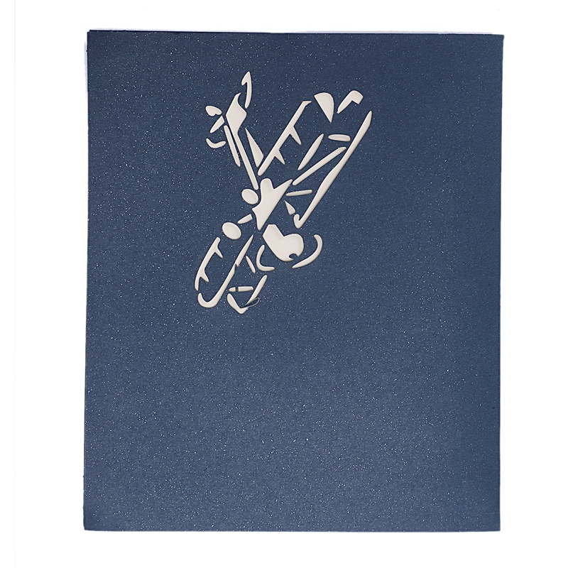 3D Laser Cutting Pop Up Holiday Happy Birthday Card Gift Postcard Airplane Model Blue