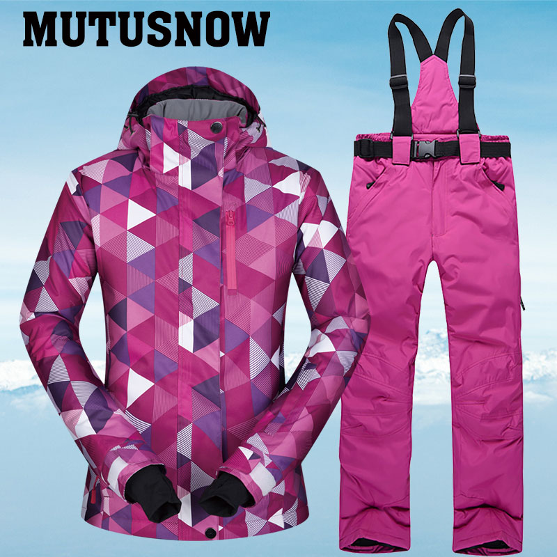 New Winter Ski Suit Women Hot Warm Waterproof Breathable Female Snow Jackets And Pants Snow Skiing And Snowboarding Suit Brands