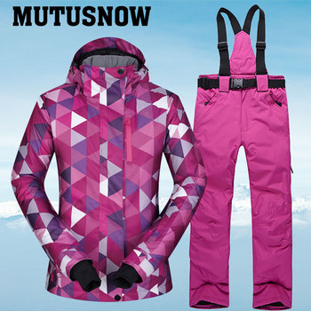 New Winter Ski Suit Women Hot Warm Waterproof Breathable Female Snow Jackets and Pants Snow Skiing and Snowboarding Suit Brands цена 2017