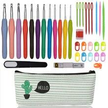 Conjunto de gancho de ganchillo de 2,0 8,0mm para herramientas de tejido de artesanía DIY juego de agujas de tejer accesorios de herramientas de costura con Cactus caso para las mujeres