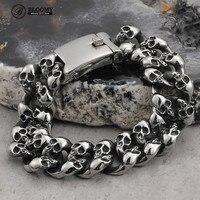 316L Stainless Steel Men's Skeleton Chain Bracelets Men Trend Punk Gothic Rock Accessories Titanium Steel Jewellery