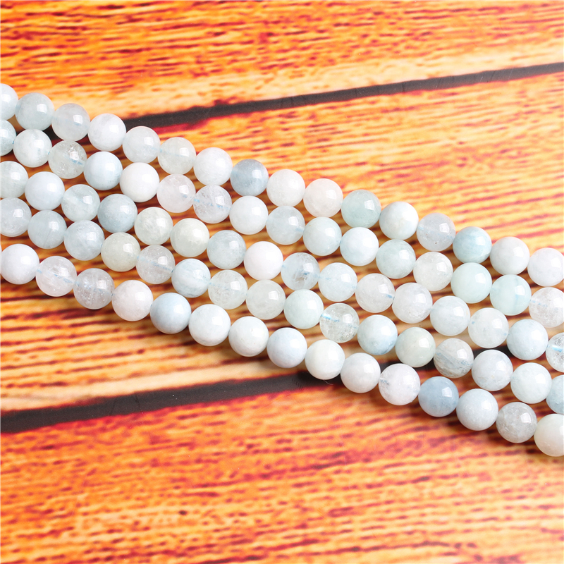 Aquamarine Natural Stone Bead Round Loose Spaced Beads 15 Inch Strand 4/6/8 / 10mm For Jewelry Making DIY Bracelet Necklace