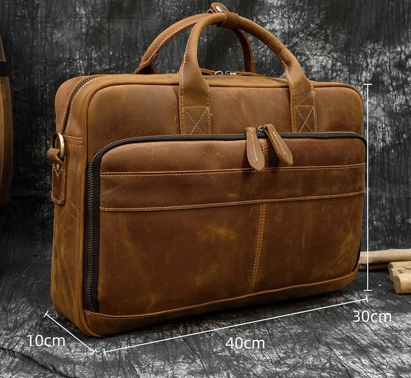 "H3c2452241977404b93675fa6e114832az MAHEU Men Briefcase Genuine Leather Laptop Bag 15.6"" PC Doctor Lawyer Computer Bag Cowhide Male Briefcase Cow Leather Men Bag"