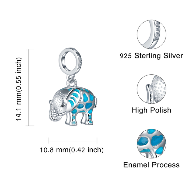100% 925 sterling silver silver growing elephant animal pendant charms Fit European Bracelet beads DIY Jewelry for gift 5
