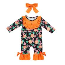 Get more info on the 100% cotton Girl Romper Halloween pumpkins embroidery baby romper +Headband Outfit 9.10
