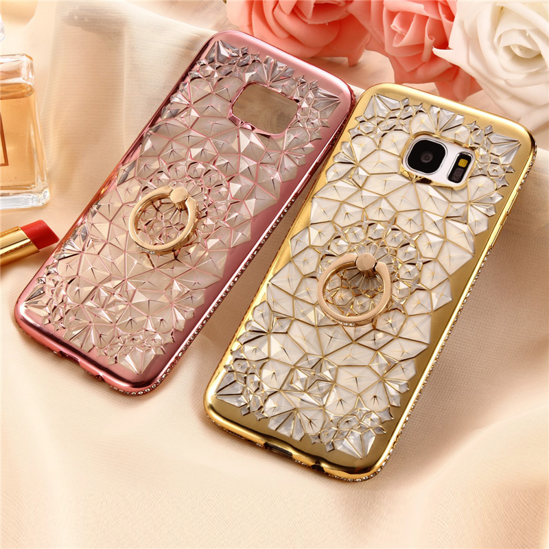 Luxury Ring Case For Samsung Galaxy S9 Plus S8 Note 8 S7 Coque Stand Holder Diamond Silicone Cover For Samsung S8 S7 Edge Capa