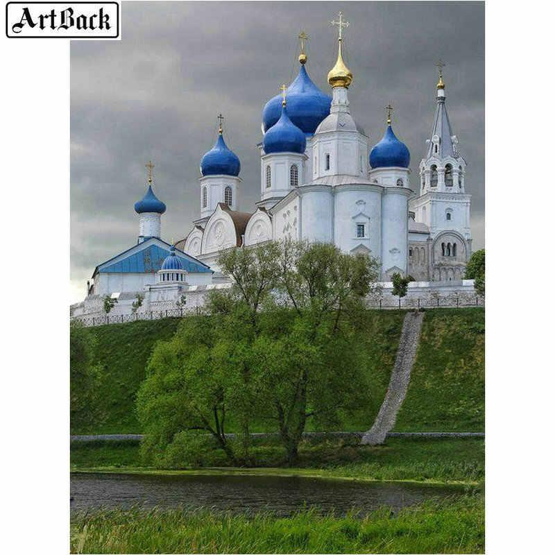 Full vuông Giáo Hội Cơ Đốc giáo Tranh Gắn Đá lâu đài tự làm 5D nhựa kim cương khảm phong cảnh thêu biểu tượng