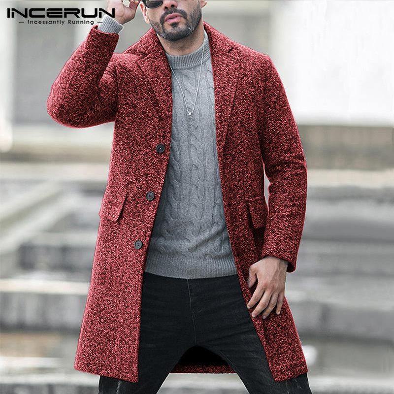 INCERUN Winter Fashion Men Blends Coats Faux Wool Trench Single Breasted Long Sleeve Slim Fit Jackets Overcoats Streetwear 2020