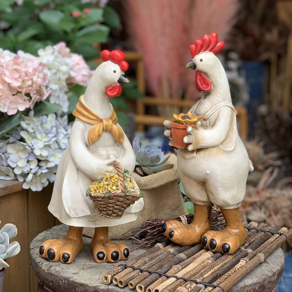 Estatua de gallo, estatua decorativa para jardín, estatua exterior de decoración para césped y jardín, 1 par IBC adaptador de drenaje de calidad alimentaria para tanque, manguera de jardín de 1/2