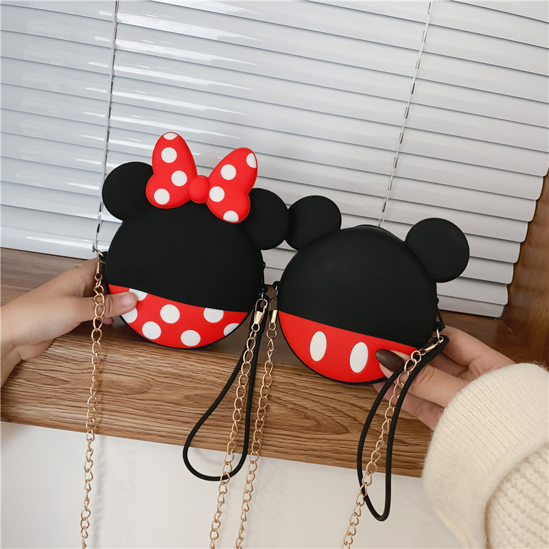 Q UNCLE Ears Parents Cute New Handbag Net Red Foreign Style Slung Over One Shoulder Small Round Bag Student Bag Coin Purse Pouch