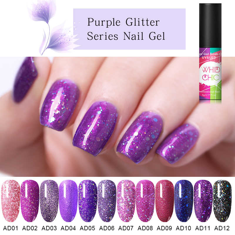 Whid Chic Paars Serie Nail Glitter Gel Polish Bling Pailletten Uv Gel Lak Vernis Sparkling Nail Art Led Gel Gel