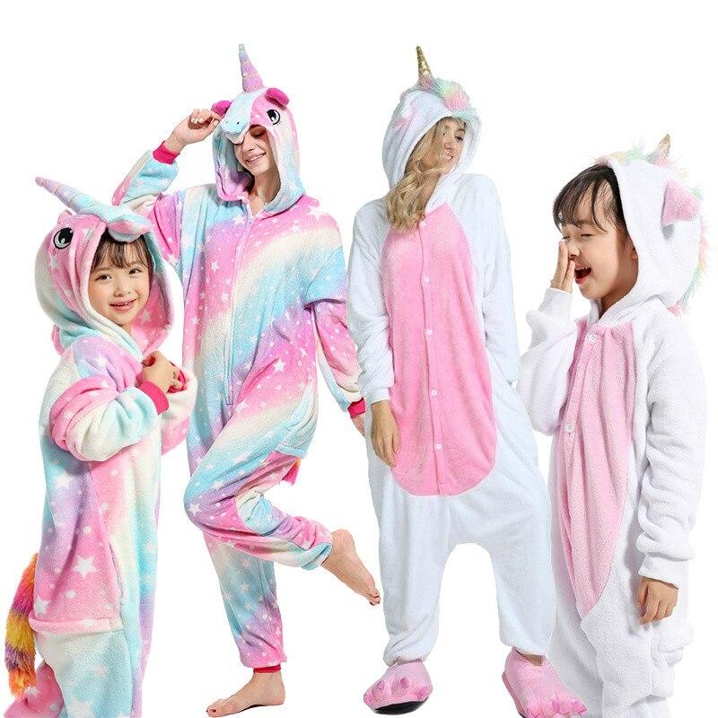 Boys Girls Pajama Sets Panda Unicorn Pajamas For Women Pijimas Onesie Adults Animal Sleepwear Winter Warm Pyjamas Kids