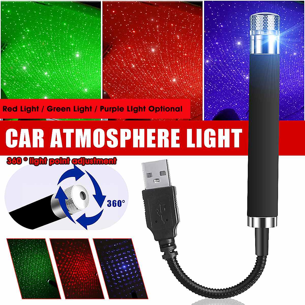 Universal USB Car Decorative Light Lamp Night Star Interior Roof Starry Lamp Atmosphere Projector Lights For Car Home
