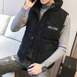 Image 3 - Mens Thicken Waistcoat Corduroy Sleeveless Jacket Men Turtleneck Cotton Padded Warm Coats Letter Logo Slim Fit Winter Vest Men