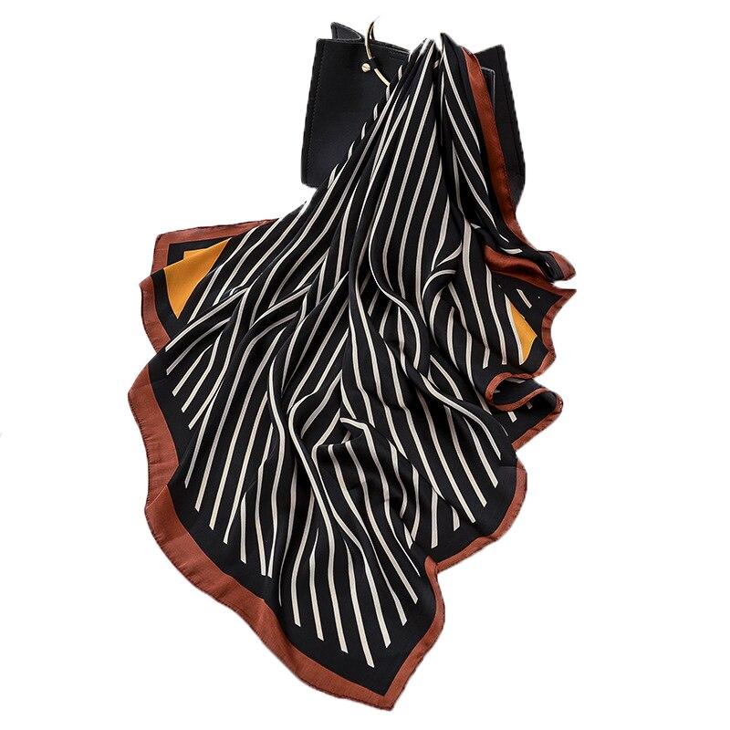 2020 Fashion Luxury Brand Scarf Silk Scarf Striped Print Big Size Square Scarves Hijab Wraps 90x90cm