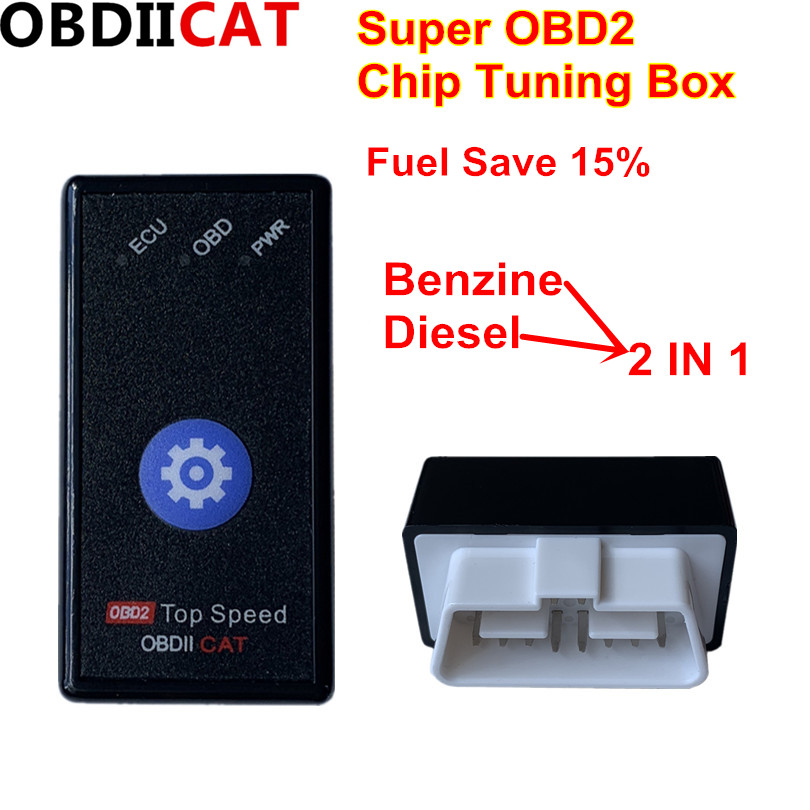 15% Fuel Save OBDIICAT HK01 OBD2  Chip Tuning Box  Better Than ECO OBD2&Nitro OBD2  For Benzine &Diesel Cars With Reset Switch
