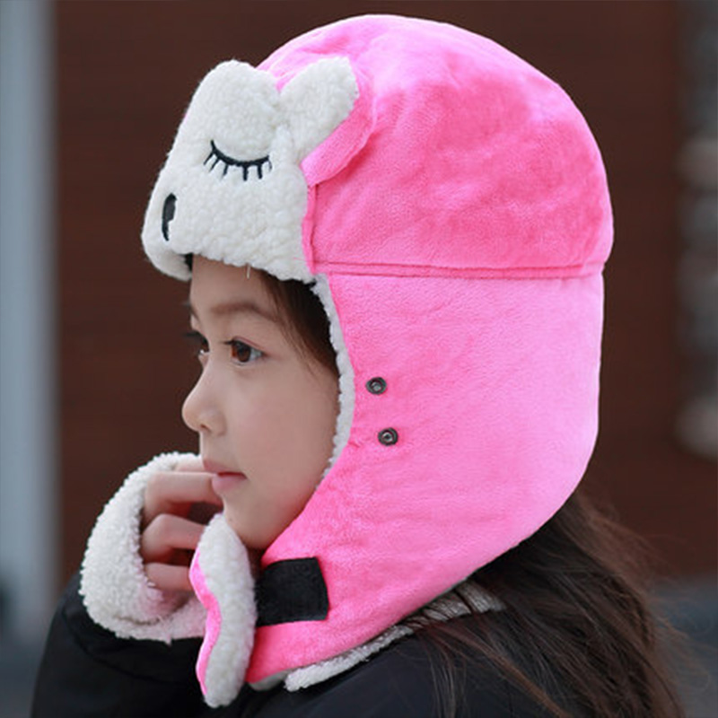 Cartoon Warm Bomber Hats For Kids Winter Hats Boys Girls Cap With Scarf Neck Cotton Snow Cap Fur Earflaps Russian Hats Mask