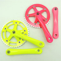 Colorful Polish Alloy Aluminum Fix Fear Single Speed Chainwheel Bike Crankset with 44T and 170mm Crank Arm