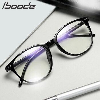 IBOODE femmes hommes fini myopie lunettes rondes myopie lunettes femme mâle bleu Film myopie lunettes