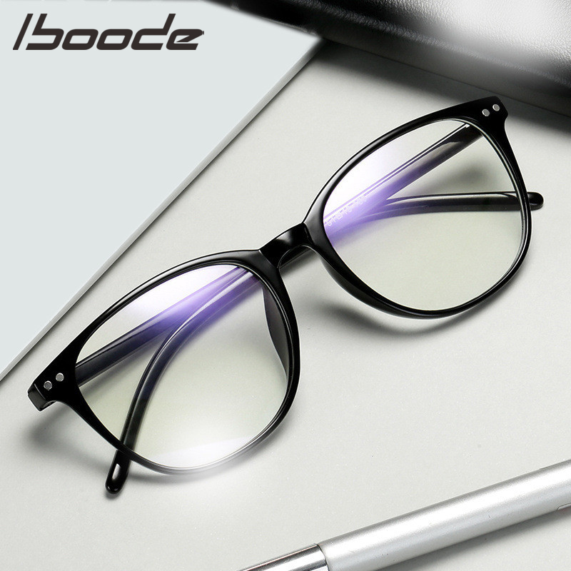 IBOODE Women Men Finished Myopia Glasses Round Nearsighted Eyeglasses Female Male Blue Film Shortsighted Eyewear Spectacles
