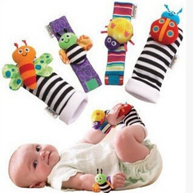 Infant Baby Watch Band Sock Rattle Plush Toy Gift  Lovely Soft  Wrist Animal Rattle Cartoon Baby 0-2 Years Old Toys