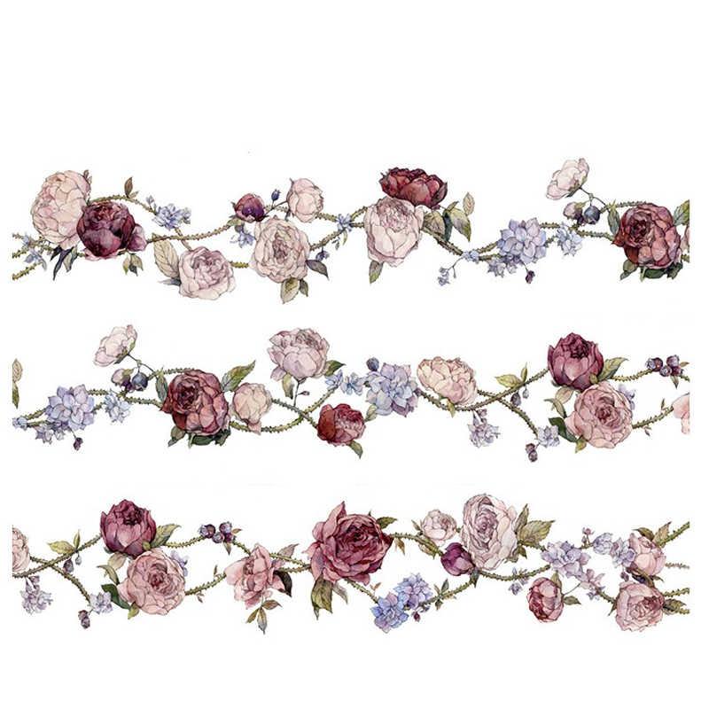 Cintas adhesivas Vintage con flores hermosas de 35mm, un comentario de rosa, cinta decorativa Washi, pegatinas para álbumes de recortes, cinta adhesiva