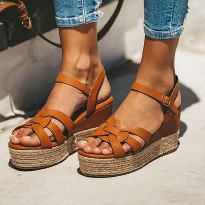 Women Vintage Sandals 2020 Summer Bohemian Beach High Heel Sandals Casual Ladies Shoes Platform Sandals Plus Size35-43
