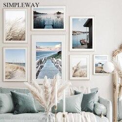 Morning Sunrise Wall Art Print Nordic Landscape Poster Beach Bridge Canvas Painting Scandinavian Living Room Decoration Picture