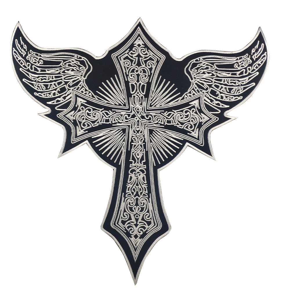 Cross <font><b>Angel</b></font> Wings Embroidery <font><b>Patches</b></font> Custom Religion Style Motercycle <font><b>Biker</b></font> Sticker Iron on Back Large Free Shipping Application image