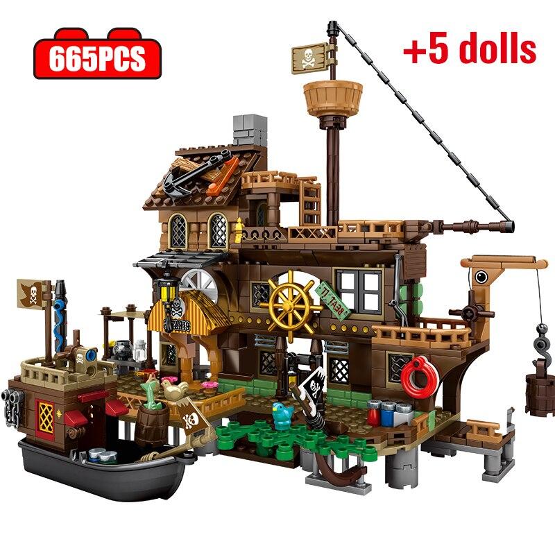 Конструктор City Black Pearl модель лодки Techinc Пираты Карибского моря корабль причал остров игрушки для детей Подарки