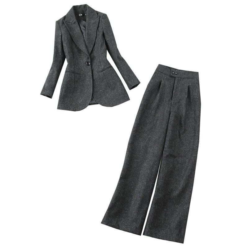 Elegant Women's Suits Suit Pants Set 2020 New Autumn And Winter Woolen Women's Jacket Blazer Casual High Waist Wide Leg Pants