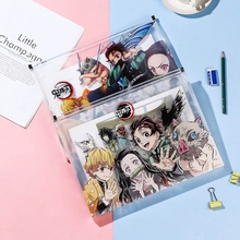 Demon Slayer Anime File Bag Folder Kimetsu No Yaiba Kamado Tanjirou PVC Paper Document Bag School Office File Storage Bag
