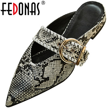 FEDONAS Cow Patent Leather Women Pumps Metal Buckle Pointed Toe Sandal Spring Summer Square Heeled Elegant New 2020 Shoes Woman