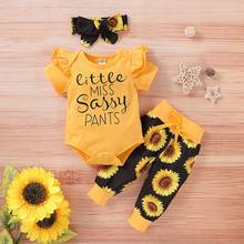 Newborn Baby Girls Romper Set Sunflower Children Alphabet Suit Girls Children's Lace Sleeve Cotton T-shirt+ Printed Casual Pants(China)