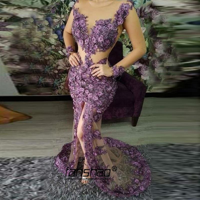 Lavender Mermaid Illusion Muslim Evening Dresses Lace Vestidos De Festa Dubai Saudi Arabic Evening Dress Prom Dress Abendkleider