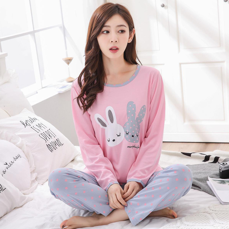 Pajamas Women Long Sleeve Cartoon Spring And Autumn Women's Qmilch Korean-style Thin-Outer Wear Casual Tracksuit