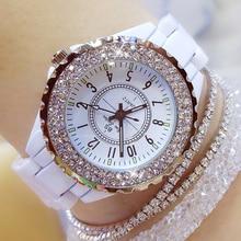 купить 2019 top brand luxury wrist watch for women white ceramic band lady watch quartz fashion women watches rhinestones black relogio по цене 380.43 рублей