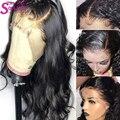 Peluca de señora alma superior 13x6 encaje Frontal pelo humano transparente pelucas de encaje predesplumado Remy peruano Bodywave peluca Frontal peluca con flequillo