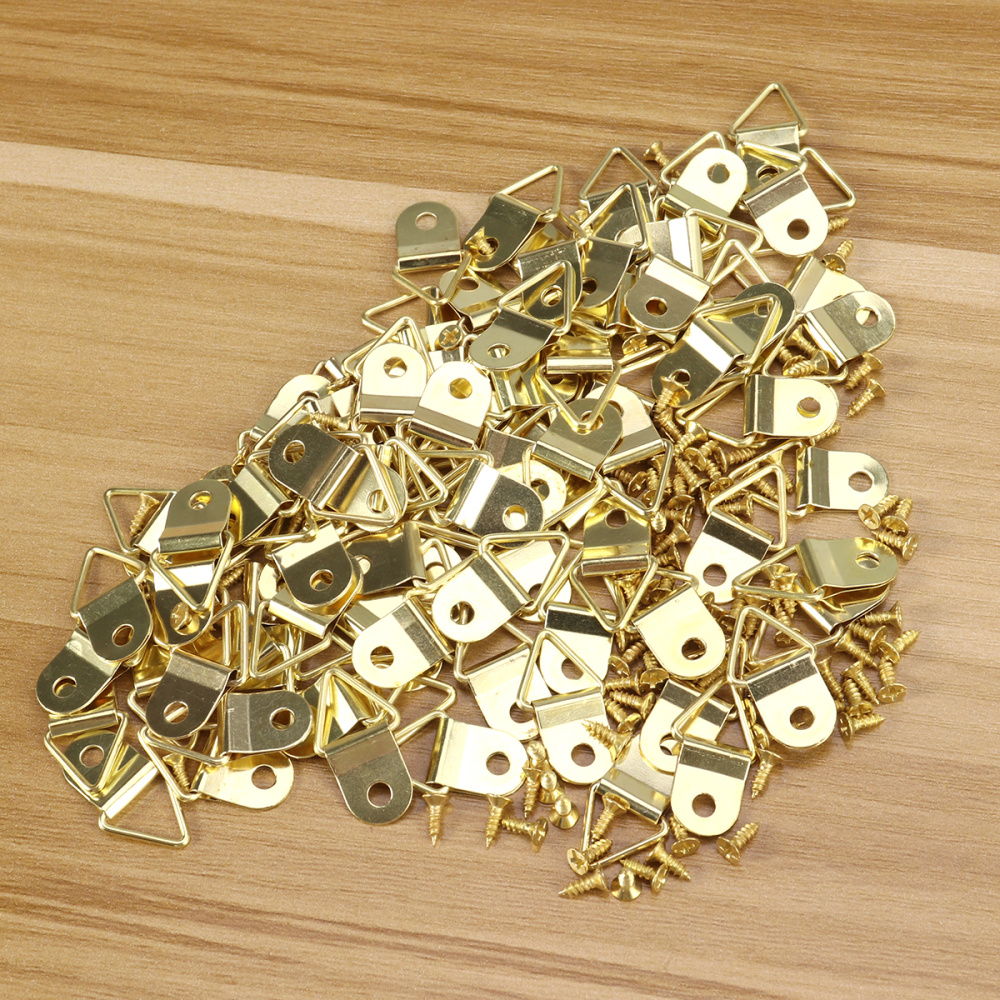 100pcs Small Triangle D-Ring Single Hole Picture Frame Hangers Holders w//Screws