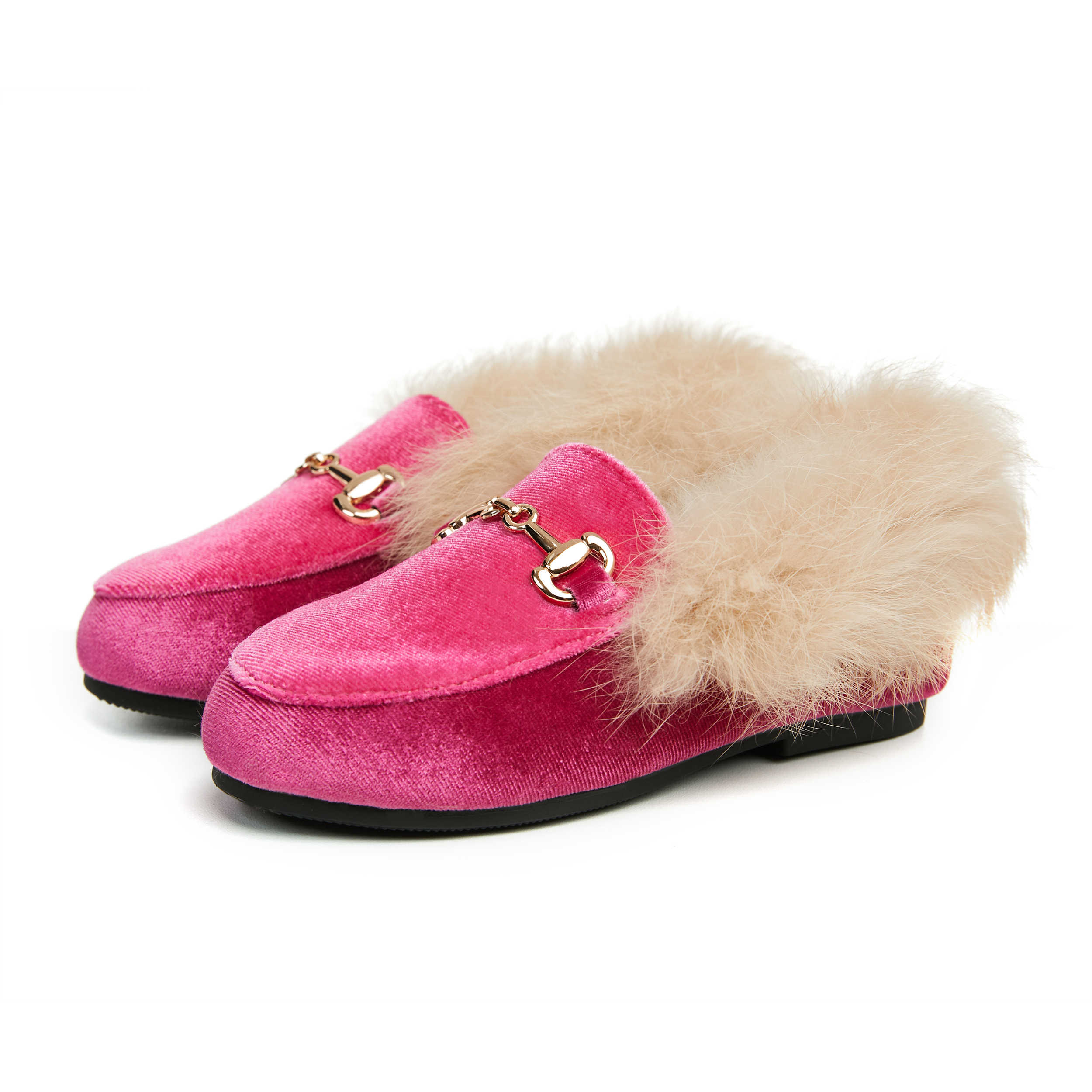 New Winter Kids Fur Shoes Children