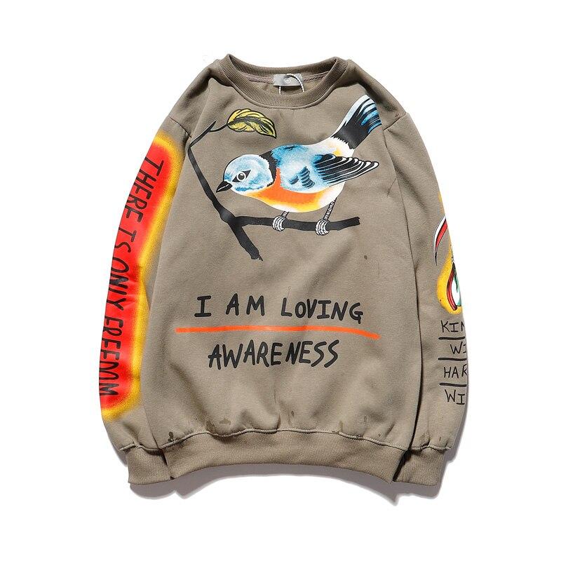 Kanye Bird Pattern Sweatshirt Men And Women Oversize O Neck Fleece Hoodies Harajuku Hip Hop Stranger Things Hoodie