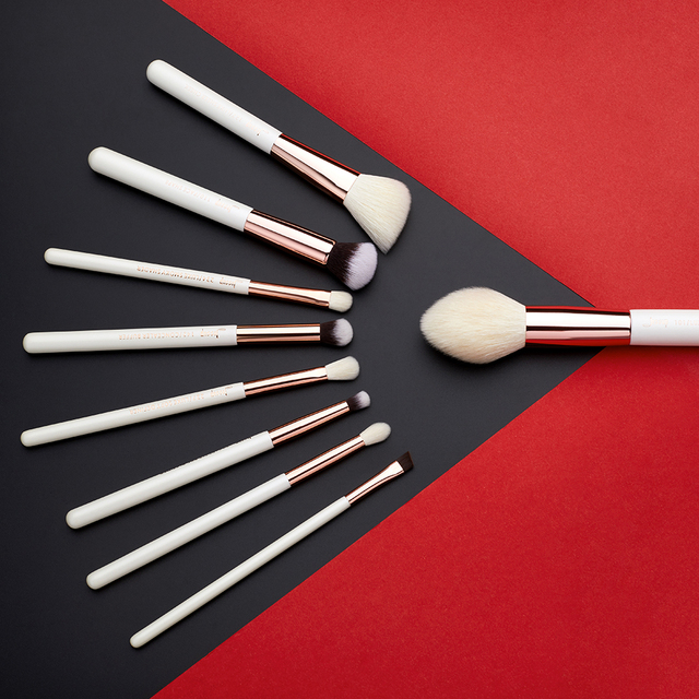 Jessup Makeup Brush Hair Foundation Powder Definer Shader Liner 10pcs Pearl White / Rose Gold Kисти для Mакияжа 5