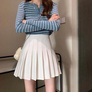Image 3 - แฟชั่นผู้หญิงกระโปรงสูงเอวกระโปรงจีบสาวหวานน่ารักมินิกระโปรงคอสเพลย์Preppyชุดนักเรียนกระโปรงสั้นXS 3XL
