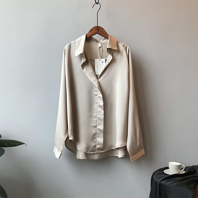 2021 Spring Women Fashion Long Sleeves Satin Blouse Vintage Femme V Neck Street Shirts Elegant Imitation Silk Blouse 5273 50 4