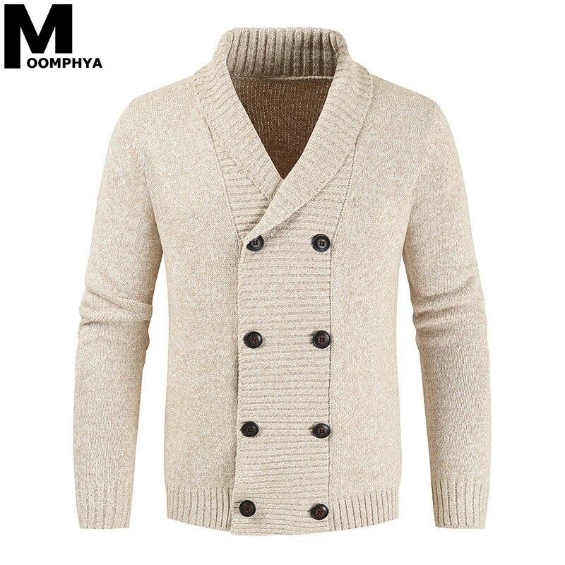 Moomphya Turn-down Collar Long Sleeve Men Sweater Coat Casual Jacquard Knitted Sweater Men 2019 Winter Jacket Cardigan Men